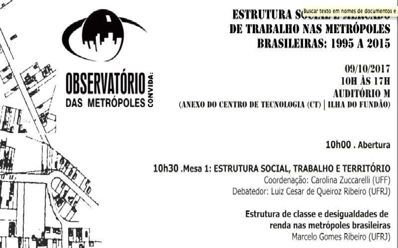 Seminário Estrutura Social nas Metrópoles Brasileiras