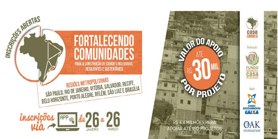 Fundo Casa Socioambiental seleciona projetos em 10 regiões metropolitanas
