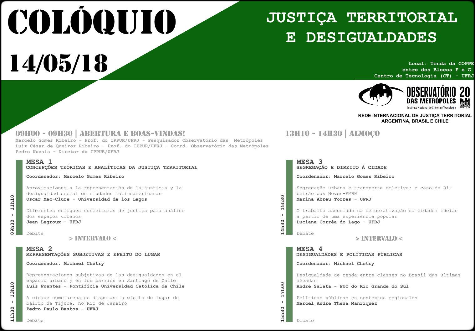 Colóquio Justiça Territorial e Desigualdades