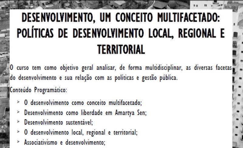 Curso Políticas de Desenvolvimento Local, Regional e Territorial