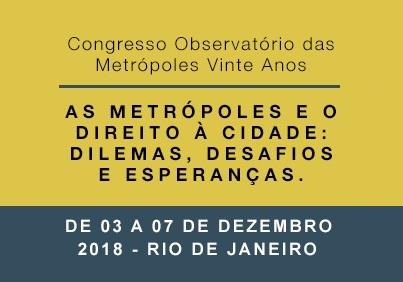 Publicações no Congresso Observatório das Metrópoles 20 anos