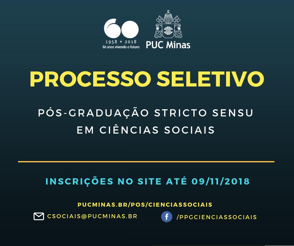 Aberto processo seletivo para o Programa de Pós-graduação em Ciências Sociais da PUC Minas