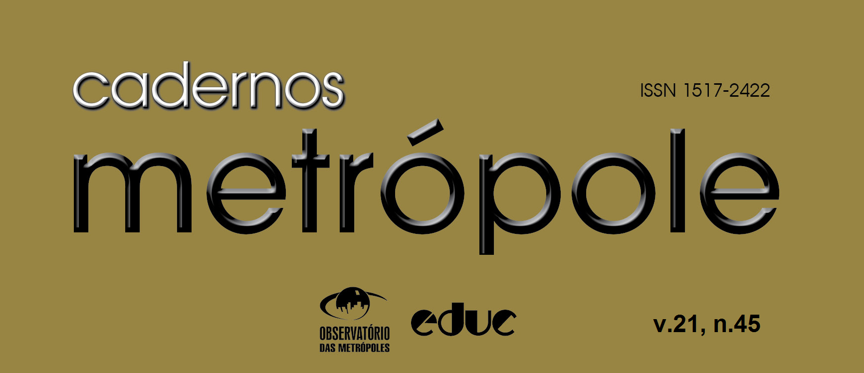 Está disponível o novo número da Revista Cadernos Metrópole (n.45)