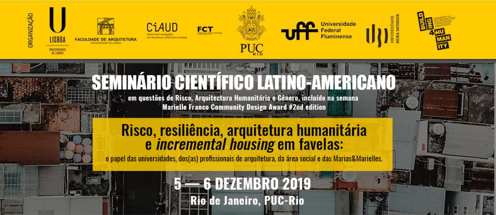 Chamada de trabalhos para o 1º Seminário Científico Internacional em Questões de Risco, Arquitetura Humanitária e Gênero