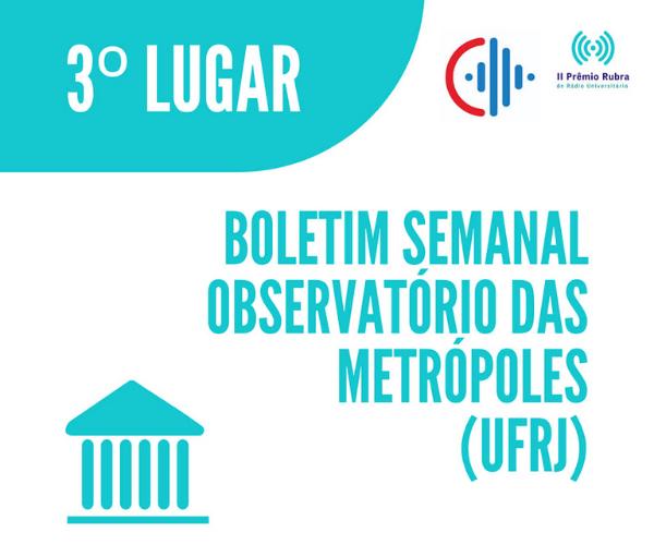 Boletim do Observatório das Metrópoles é premiado no II Prêmio RUBRA